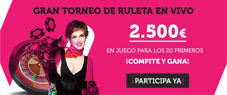 Wanabet torneo de ruleta en vivo 2500€ premio